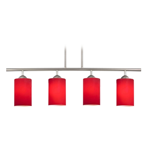 Design Classics Lighting Modern Linear Pendant Light with 4-Lights and Red Glass in Satin Nickel Finish 718-09 GL1008C
