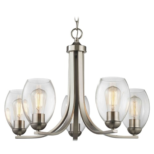 Design Classics Lighting Satin Nickel Chandelier with Clear Oblong Glass and 5-Lights 584-09 GL1034-CLR