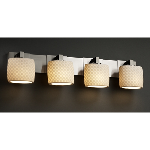 Justice Design Group Justice Design Group Limoges Collection Bathroom Light POR-8924-30-CHKR-NCKL