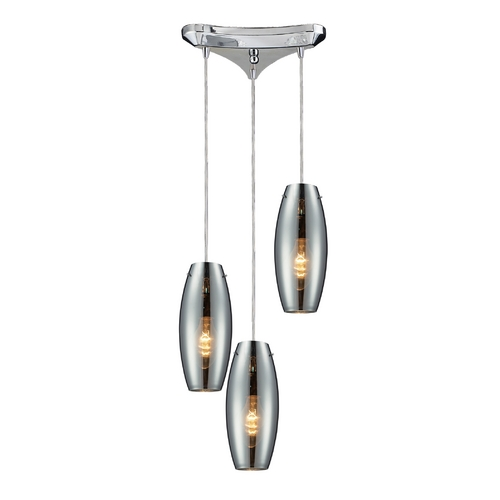 Elk Lighting Multi-Light Pendant Light with Mercury Glass and 3-Lights 60064-3