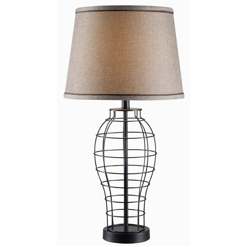 Kenroy Home Lighting Kenroy Home Lighting Dresser Black Table Lamp with Empire Shade 32405BL