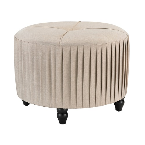 Sterling Lighting Pleated Ottoman in Natural Linen 180-012