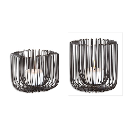 Uttermost Lighting Uttermost Flare Black Wire Candleholders Set of 2 19974