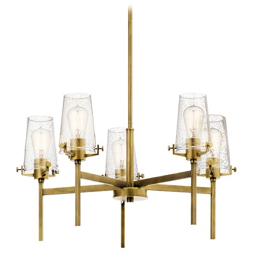 Kichler Lighting Alton 5-Light Natural Brass Chandelier with Clear Seeded Glass Shade 43694NBR