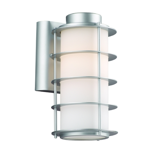 Philips Lighting Modern Outdoor Wall Light with White Glass in Vista Silver Finish F849741