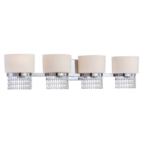 Designers Fountain Lighting Bathroom Light with White Glass in Chrome Finish 83904-CH