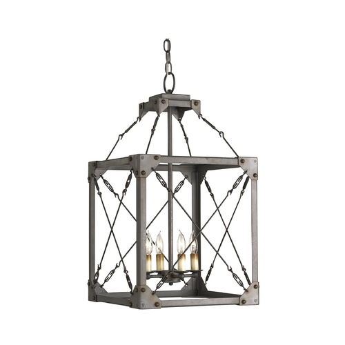 Currey and Company Lighting Modern Pendant Light in Hiroshi Gray Finish 9139