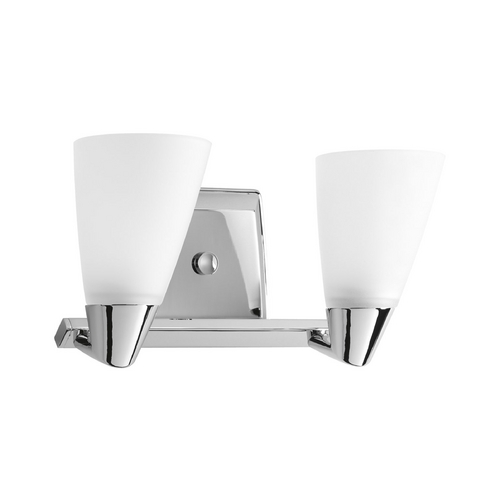 Progress Lighting Progress Bathroom Light with White Glass in Polished Chrome Finish P2806-15