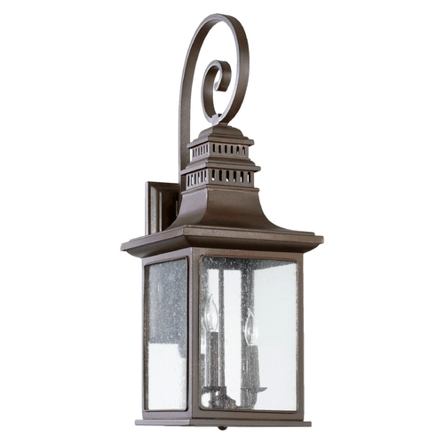 Quorum Lighting Seeded Glass Outdoor Wall Light Oiled Bronze Quorum Lighting 7043-3-86