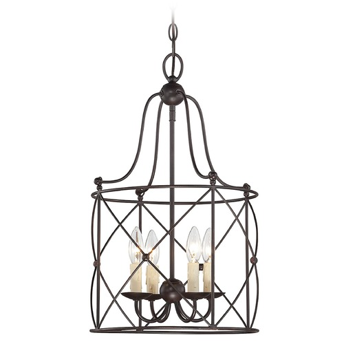 Savoy House Savoy House English Bronze Pendant Light with Drum Shade 3-4070-4-13
