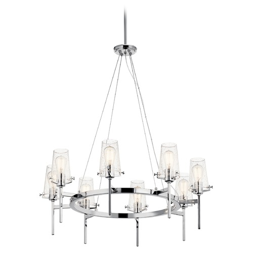 Kichler Lighting Alton 8-Light Chrome Chandelier with Clear Seeded Glass Shade 43695CH