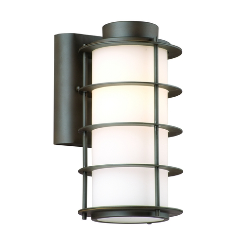 Philips Lighting Modern Outdoor Wall Light with White Glass in Deep Bronze Finish F849768