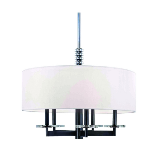 Hudson Valley Lighting Modern Drum Pendant Light with White Shade in Polished Nickel Finish 8824-PN