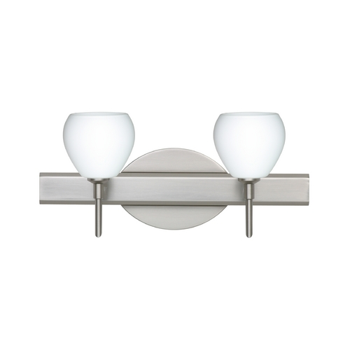 Besa Lighting Modern Bathroom Light with White Glass in Satin Nickel Finish 2SW-560507-SN