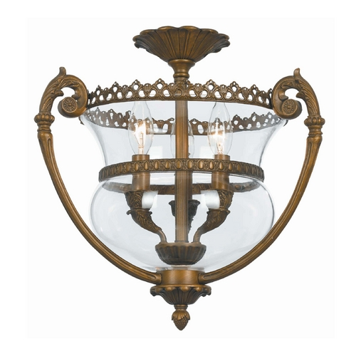 Crystorama Lighting Pendant Light with Clear Glass in Antique Brass Finish 5791-AB