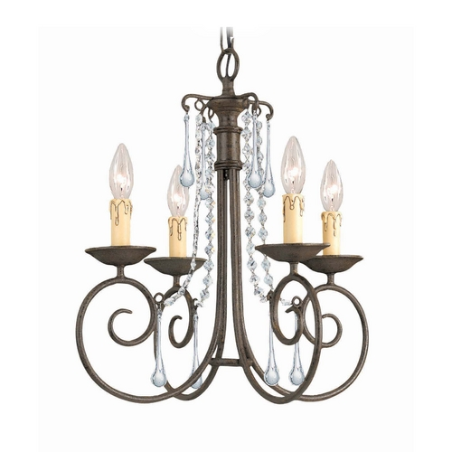 Crystorama Lighting Crystal Mini-Chandelier in Dark Rust Finish 5204-DR-CL-SAQ