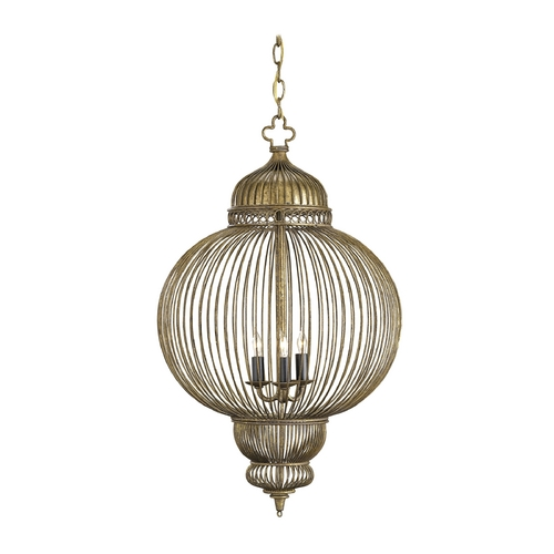 Currey and Company Lighting Pendant Light in Rustic Gold/antique Black Finish 9137