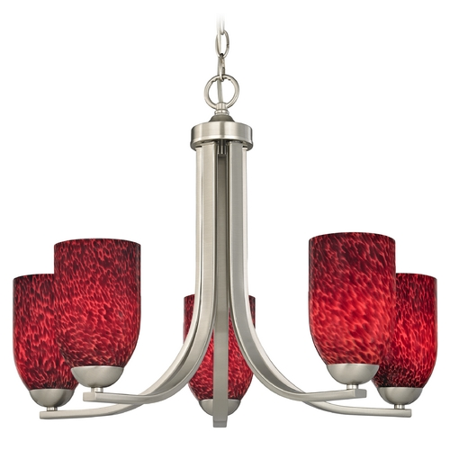 Design Classics Lighting Art Glass Chandelier in Satin Nickel Finish 584-09 GL1018D