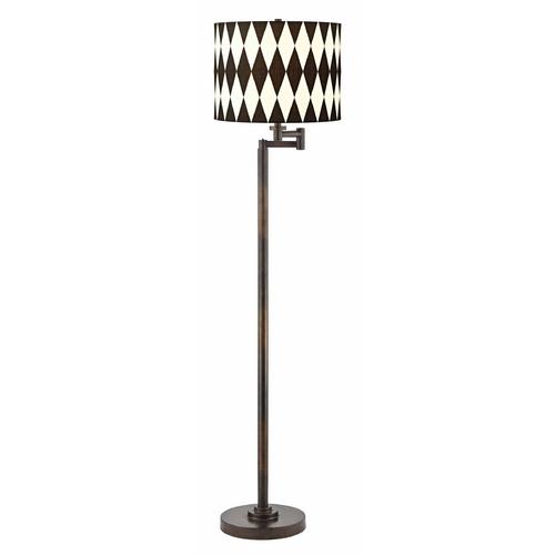 Design Classics Lighting Design Classics Harlequin Shade Remington Bronze Swing Arm Floor Lamp