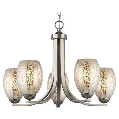 Design Classics Lighting Satin Nickel Chandelier with Mercury Oblong Glass and 5-Lights 584-09 GL1034-MER