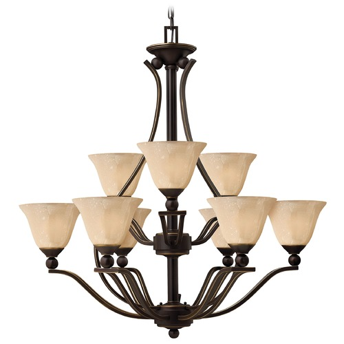 Hinkley Lighting Light Amber Seeded Glass Chandelier Bronze Hinkley Lighting 4657OB