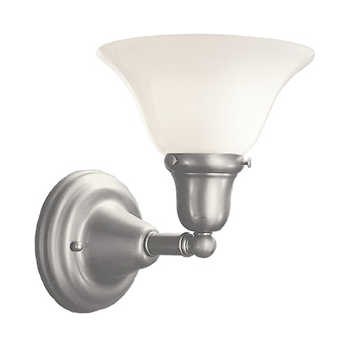 Hudson Valley Lighting Sconce with White Glass in Satin Nickel Finish 581-SN-415