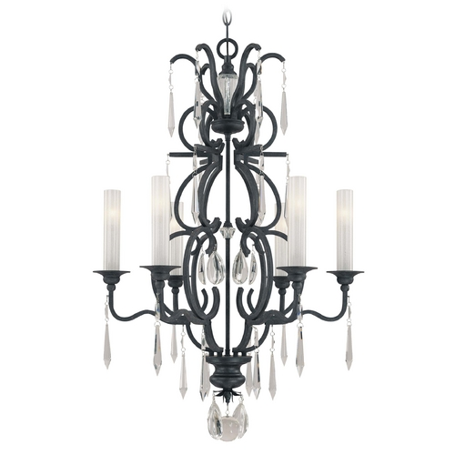 Metropolitan Lighting Crystal Chandelier with White Glass in Castellina Aged Iron Finish N6700-254