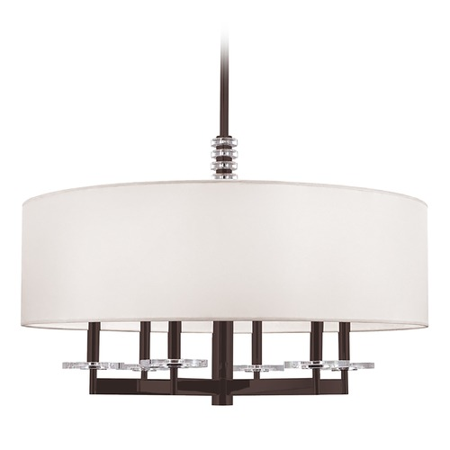 Hudson Valley Lighting Modern Drum Pendant Light with White Shade in Old Bronze Finish 8830-OB