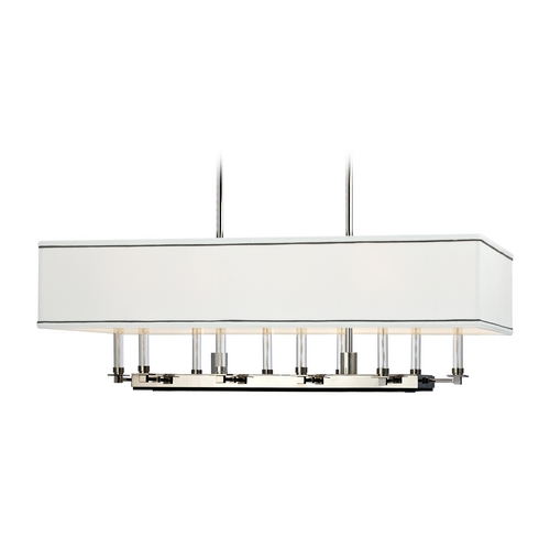Hudson Valley Lighting Modern Island Light with White Shades in Polished Nickel Finish 2938-PN