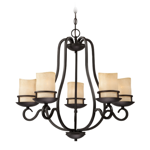 Designers Fountain Lighting Chandelier with Amber Glass in Natural Iron Finish 84785-NI