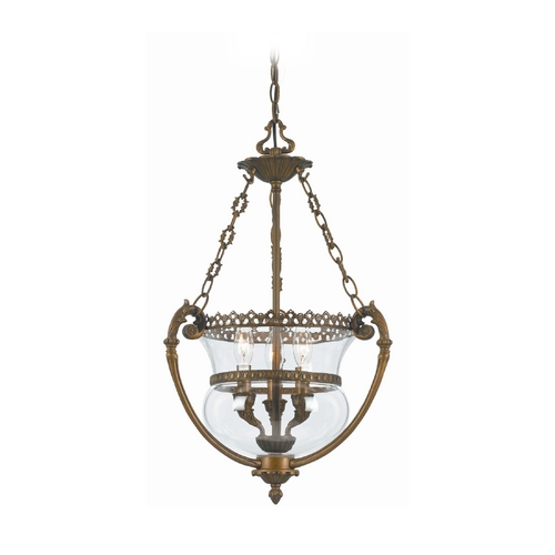 Crystorama Lighting Pendant Light with Clear Glass in Antique Brass Finish 5793-AB