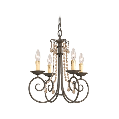 Crystorama Lighting Crystal Mini-Chandelier in Dark Rust Finish 5204-DR-GT-MWP