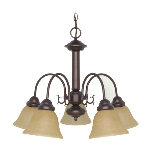 Nuvo Lighting Chandelier with Beige / Cream Glass in Mahogany Bronze Finish 60/1251