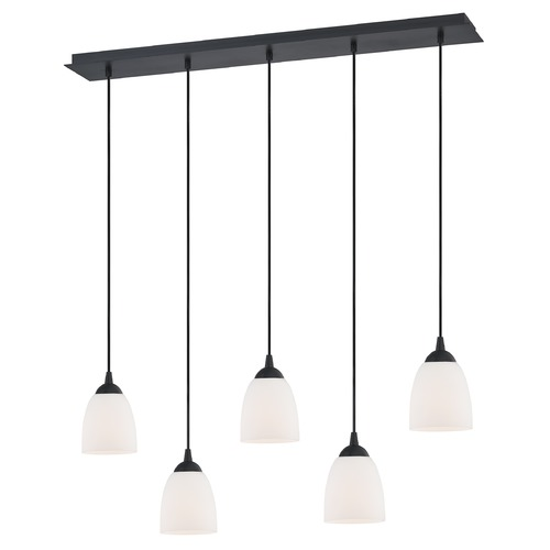 Design Classics Lighting 36-Inch Linear Pendant with 5-Lights in Matte Black Finish with Shiny Opal White Glass 5835-07 GL1024MB