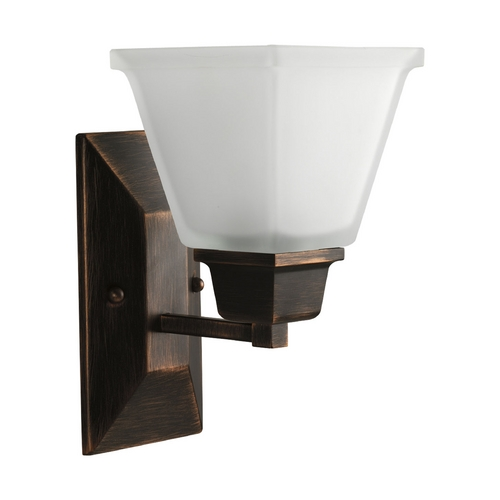 Progress Lighting Progress Sconce Wall Light with White Glass in Venetian Bronze Finish P2733-74