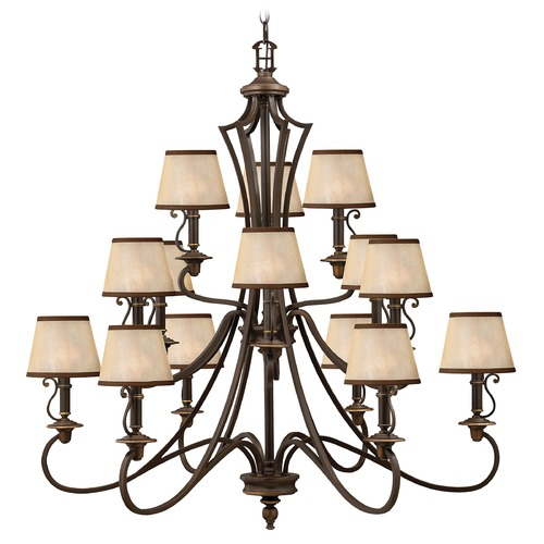 Hinkley Lighting Chandelier with Amber Shades in Olde Bronze Finish 4249OB