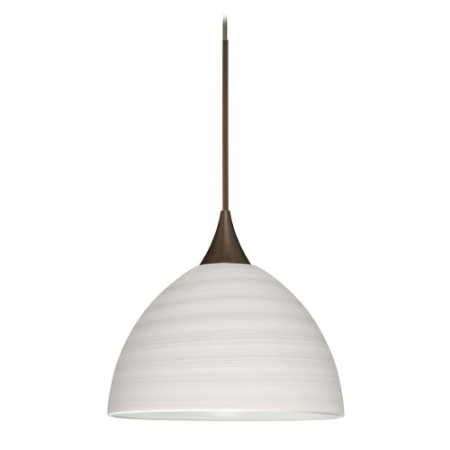 Besa Lighting Besa Lighting Brella Bronze Mini-Pendant Light with Bowl / Dome Shade 1XT-4679KR-BR