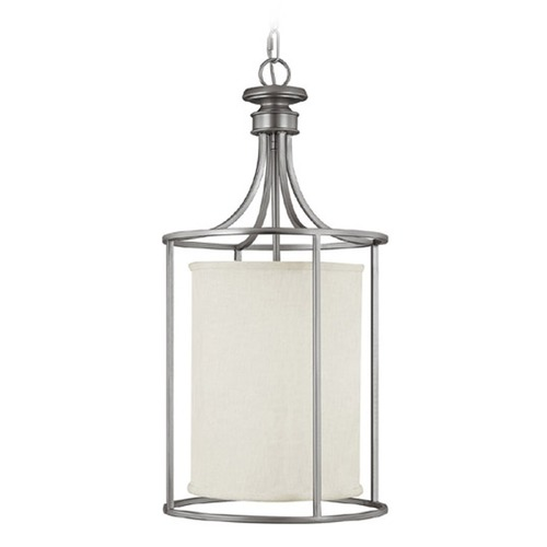 Capital Lighting Capital Lighting Midtown Matte Nickel Pendant Light with Cylindrical Shade 9042MN-474