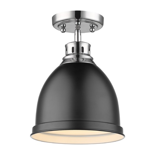 Golden Lighting Golden Lighting Duncan Chrome Semi-Flushmount Light with Matte Black Shade 3602-FMCH-BLK