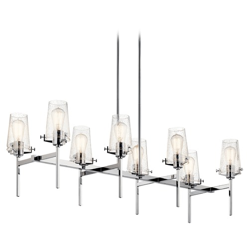Kichler Lighting Alton 8-Light Chrome Chandelier with Clear Seeded Glass Shade 43696CH