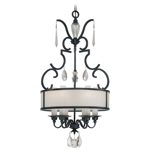 Metropolitan Lighting Crystal Chandelier with White Glass in Castellina Aged Iron Finish N6701-254