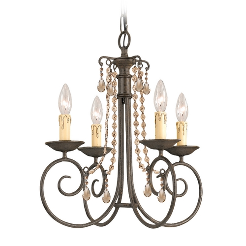 Crystorama Lighting Crystal Mini-Chandelier in Dark Rust Finish 5204-DR-GTS