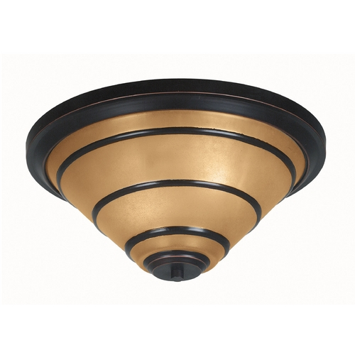 Kenroy Home Lighting Flushmount Light with Amber Glass in Oil Rubbed Bronze Finish 90082ORB