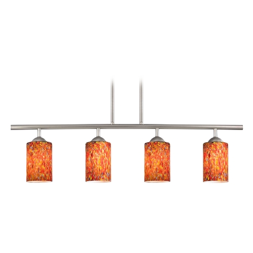Design Classics Lighting Modern Island Light with Multi-Color Glass in Satin Nickel Finish 718-09 GL1012C