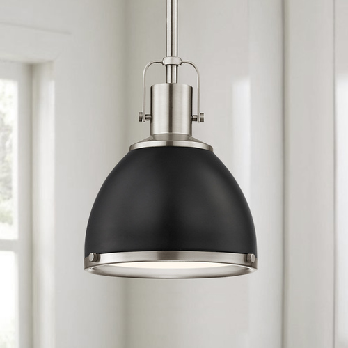 Design Classics Lighting Nautical Mini-Pendant Black and Satin Nickel 7.38-Inch Wide 1762-09 SH1775-07 R1775-09