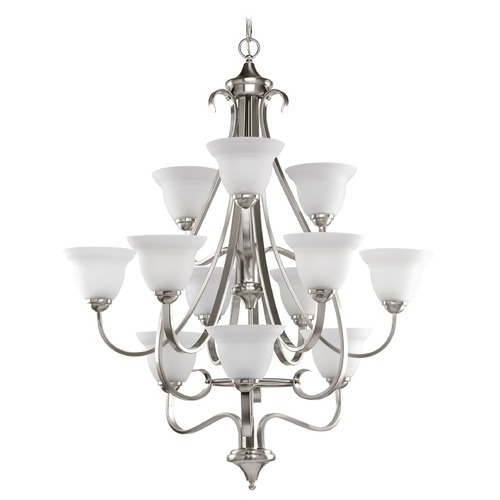 Progress Lighting Progress Chandelier with White Glass in Brushed Nickel Finish P4419-09