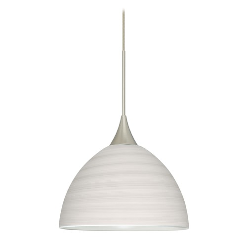 Besa Lighting Besa Lighting Brella Satin Nickel Mini-Pendant Light with Bowl / Dome Shade 1XT-4679KR-SN