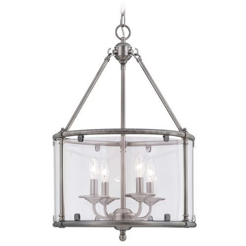 Savoy House Savoy House Brushed Pewter Pendant Light with Drum Shade 3-4153-4-187