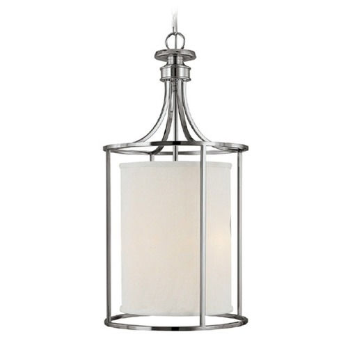 Capital Lighting Capital Lighting Midtown Polished Nickel Pendant Light with Cylindrical Shade 9042PN-474