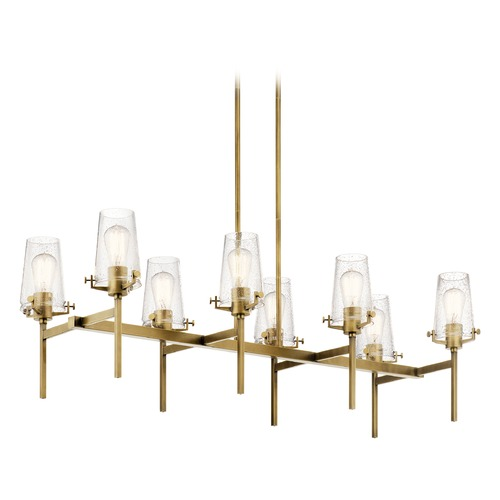 Kichler Lighting Alton 8-Light Natural Brass Chandelier with Clear Seeded Glass Shade 43696NBR